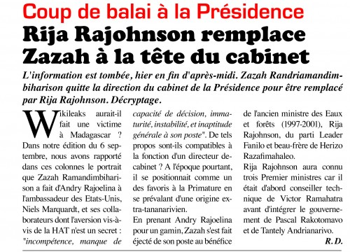 Madagascar, Transition, Andry Rajoelina, Zazah Ramandimbiharison, Wikileaks