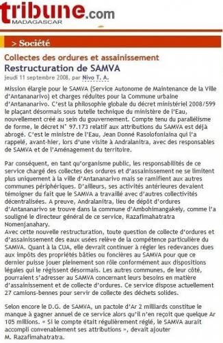 Madagascar, ordures, Antananarivo, CUA, Lalao Ravalomanana, Marc Ravalomanana, Ravalomanana, Randy Donny, Samva